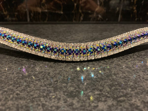 18mm curve AB jelly, iridescent purple and clear browband Full