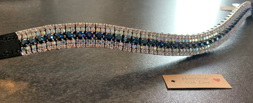 18mm curve navy, iridescent blue and clear browband Warmblood