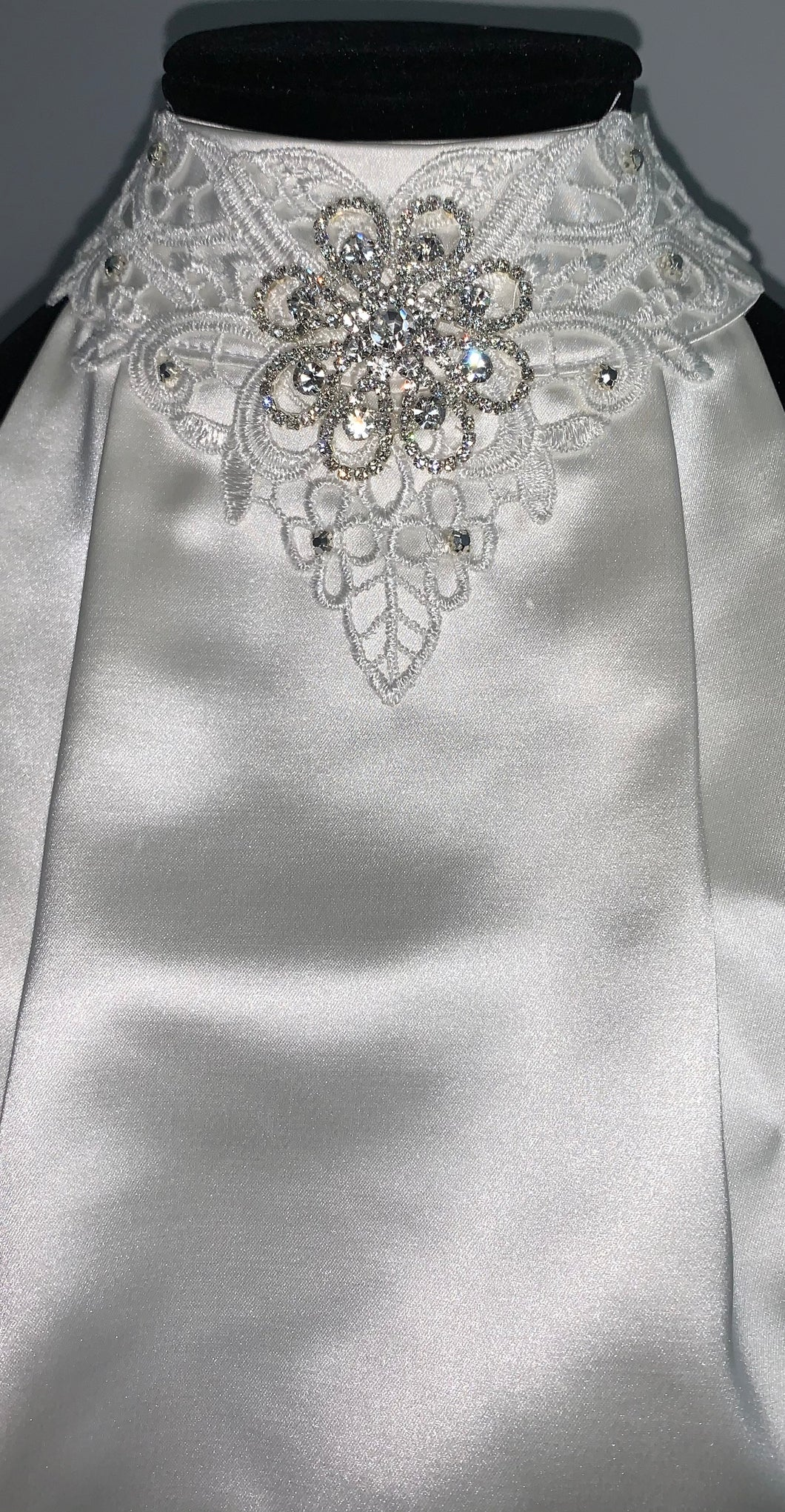 Elegant lace with crystal flower stock tie