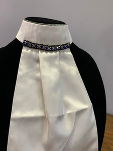 Set ~ Black and Royal blue stock tie with Browband