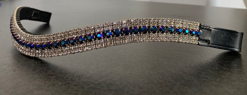 18mm curve Black/blue with clear Crystal browband Cob