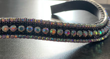 18mm curve Iridescent and Jet black Crystal browband Full