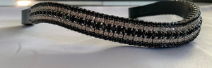 18mm Clear crystal and Jet Black curve browband W/B