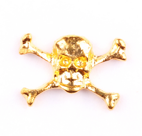 Gold Skull and Bones Charm - Luxury Beauty