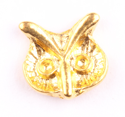 Gold Owl Head Charm - Luxury Beauty