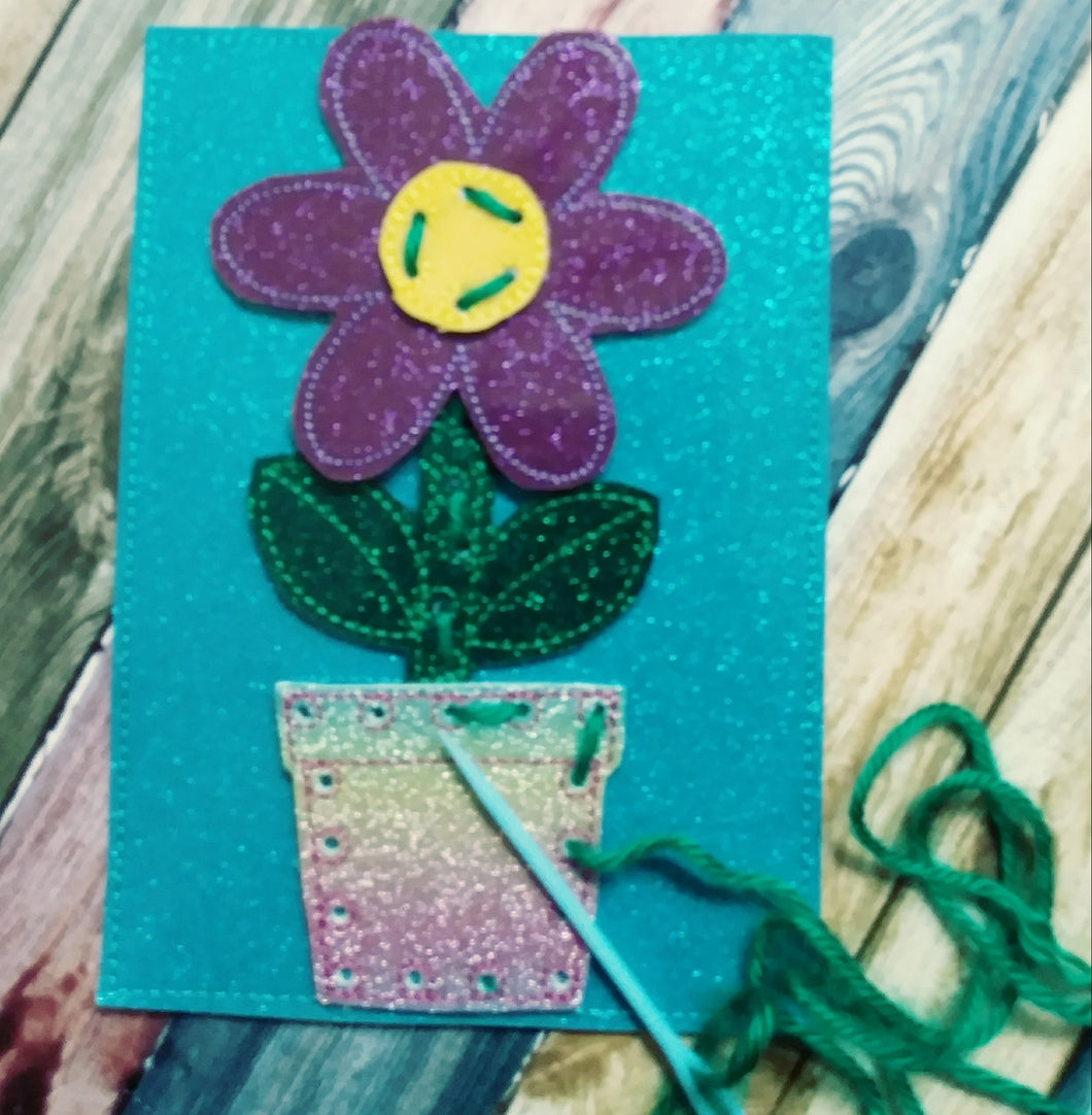 Kids sewing card - learn to sew - flower sewing card