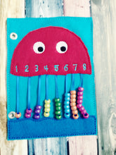 Jellyfish counting page - quiet book page - abacus - counting page