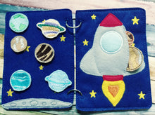 Solar system quiet book page - outer space quiet book page - travel toy - learning page