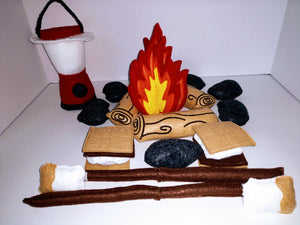 Felt Campfire Play Set With Lantern - Photography Prop - Fake Fire