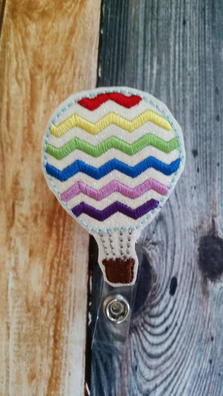 Chevron Hot Air Balloon Badge Reel - Retractable Badge Reel - name tag holder - ID holder - gift for teacher - hot air balloon