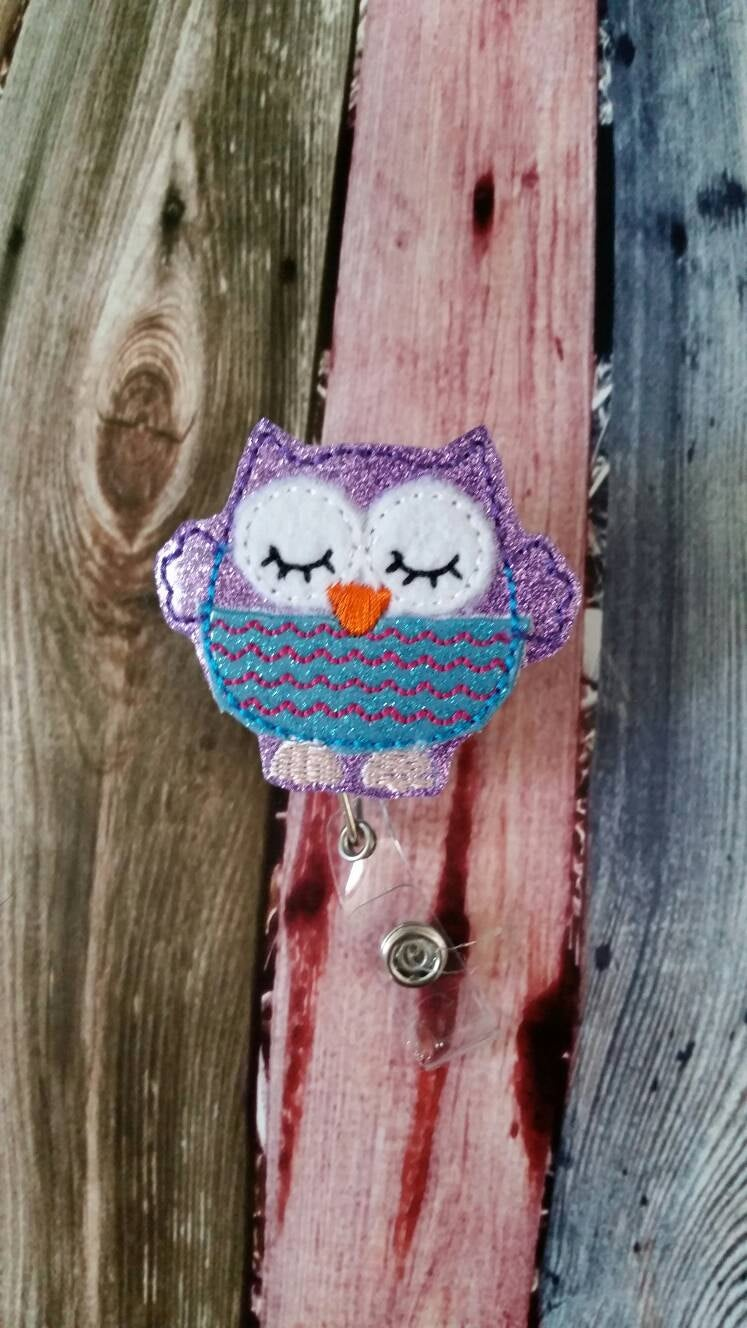 Badge Reel - Owl - Retractable Badge Reel - ID holder - name badge holder - woodland animal - gift for nurse  - gift for teacher