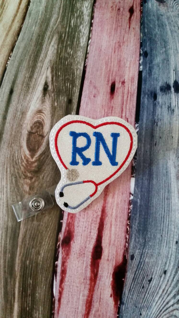 RN Sparky Heart with Stethescope  Badge Reel - Retractable Badge Reel -  gift for nurse - registered nurse  - RN - name badge holder