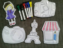 Paris Theme - Coloring Dolls - Quiet Activity - Busy Bags - Color again and again - Eiffel Tower - Camera - Boutique -  Doll - dry erase