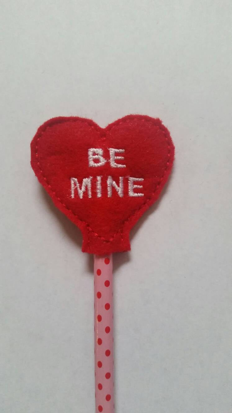 Be Mine Red Heart Pencil Toppers - Valentines day Party Favor - valentines day gift for kids - Non Food Treat - vday - classroom favor