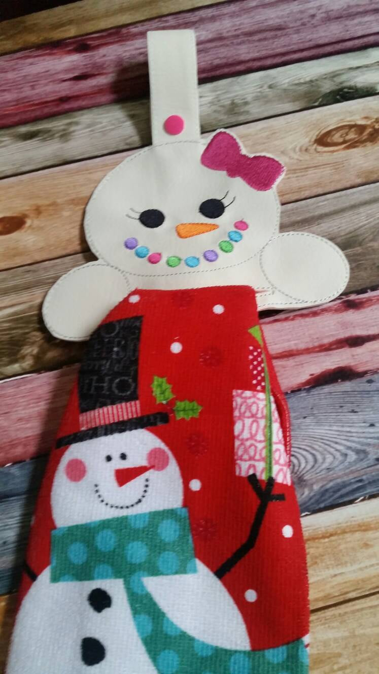 Snow Girl Vinyl Towel Topper....Keep kitchen towels at your fingertips.  No more falling towels...Holiday present...Durable..towel included