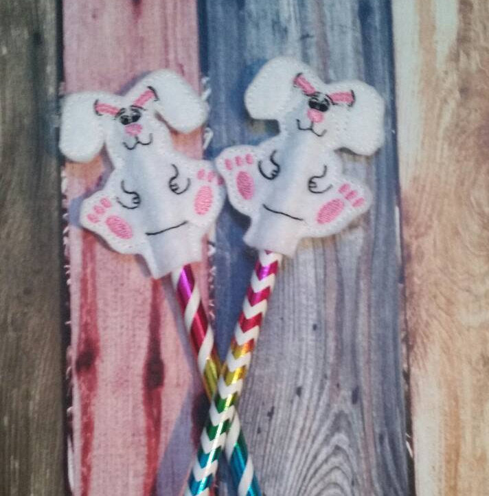 Easter Bunny - Pencil Topper - rabbit - Easter Basket - Party Favor - Non Food Treat - Pencil Included - classroom treat - Easter present