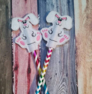 Easter Bunny - Pencil Topper - rabbit - kids Easter Basket - Party Favor - Non Food Treat - Pencil Included - classroom treat - Easter