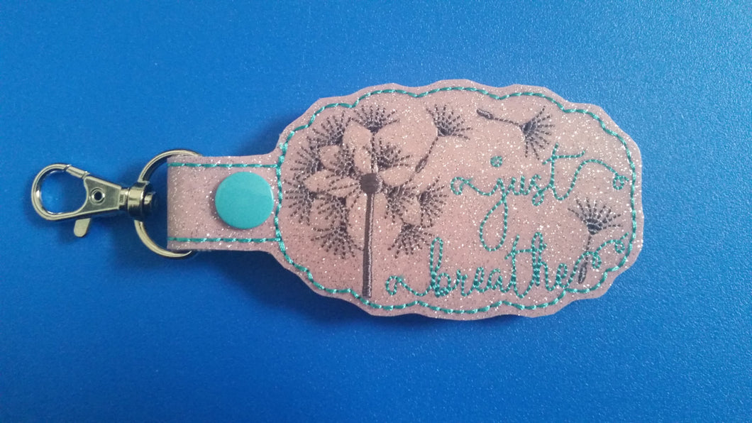 Just Breathe Dandelion Keychain - Inspirational -Relaxing - Keep Calm - Make a Wish - Keyring - Custom Colors Key Fob - Dandelion Wish