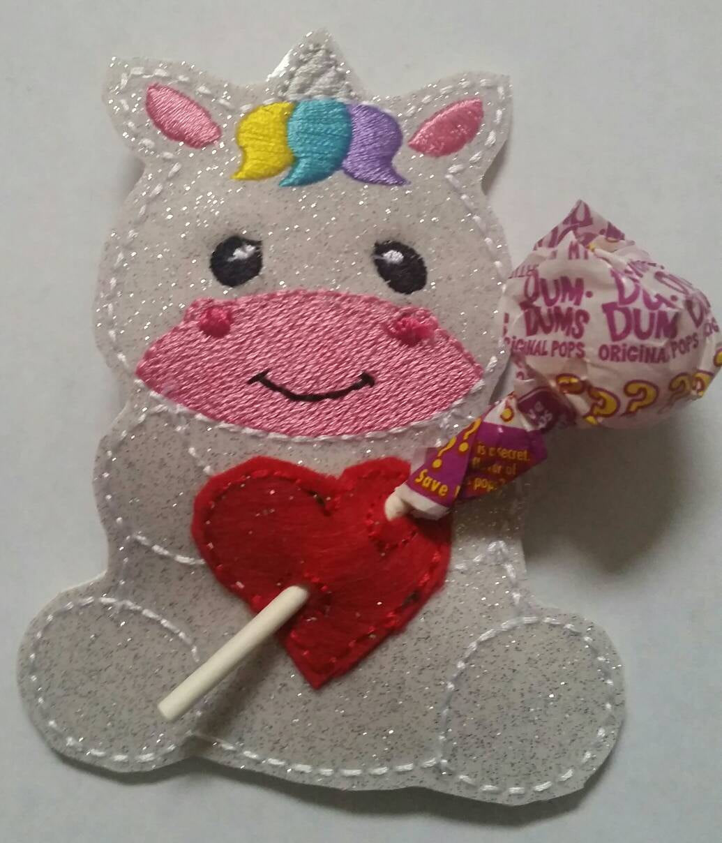 Unicorn Sucker Holder - Valentine - Classroom Party Favor - Birthday Party Favor - magical - heart - lollipop - be mine - non food treat