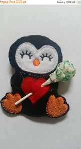 Penguin - Sucker Holder - Easter basket - Classroom Party Favor - Birthday Party Favor - Polar Animal - heart- lollipop-non food treat