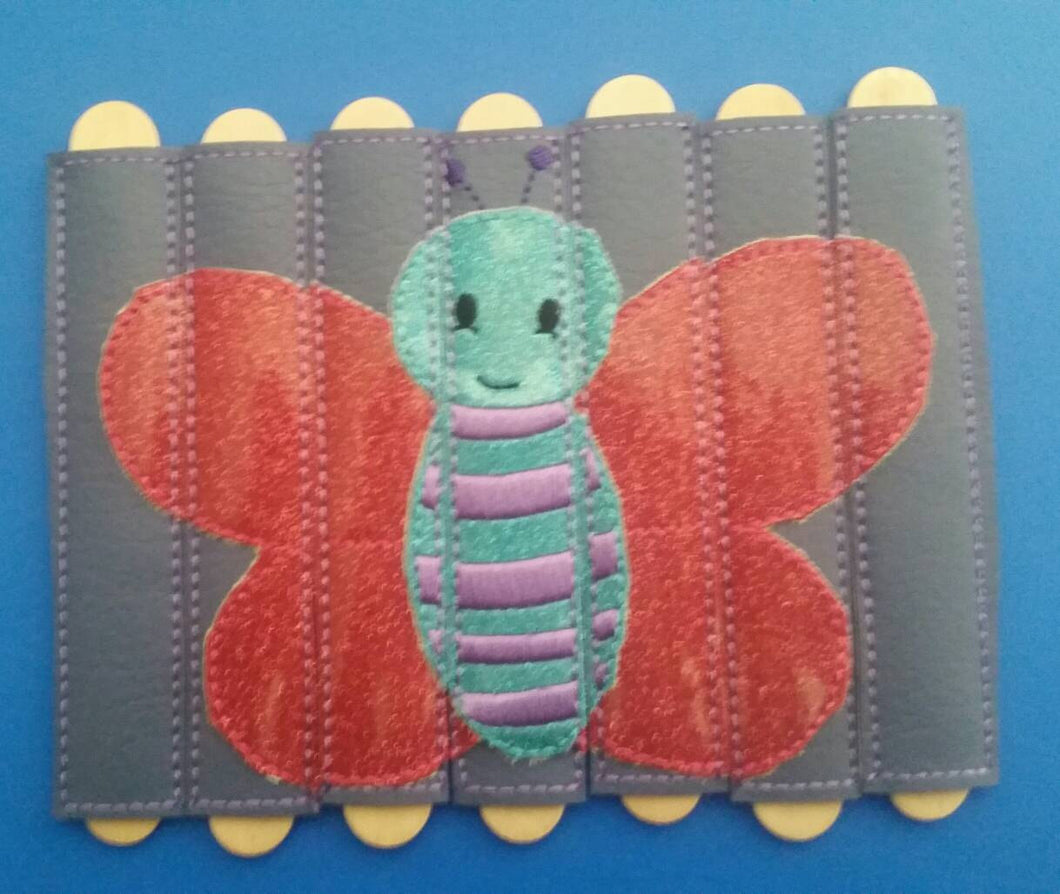 Butterfly Stick Puzzle - Seven Pieces - vinyl - school - classroom - educational - Quiet Toy - Busy Bag - Activity Bag - popsicle stick
