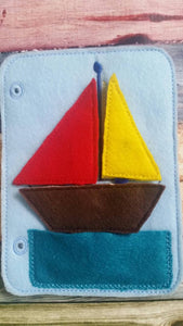 Toddler quiet book- quiet book pages - build a boat page -  felt apple tree - pocket - Build your own quiet book - busy book