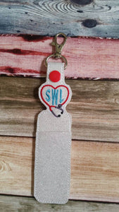 Stethescope heart - lip balm holder - key chain - gift for nurse - lip balm cozy - monogram - personalized - health care gift