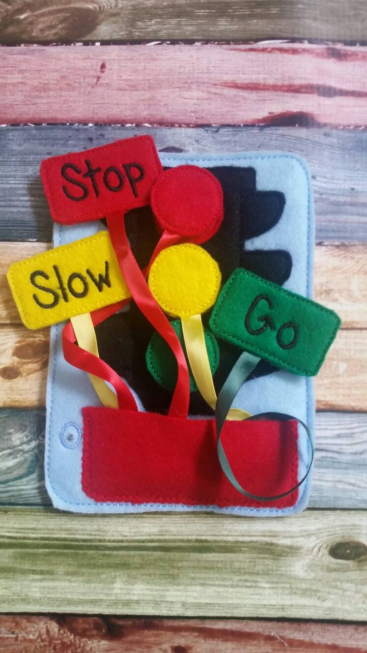 Toddler quiet book- quiet book pages - stoplight - car light - semsoy - Build your own quiet book - coordination - busy book - activity book