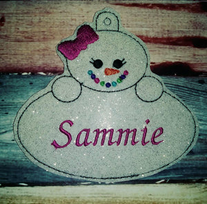 Personalized Ornament - snowman ornament - name ornament - vinyl ornament - christmas decoration - classroom gift - embroidered name - gift