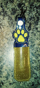 Paw print - lip balm holder - party favor - school spirit - flash drive holder - stocking stuffer - school colors - birthday party - bulldog