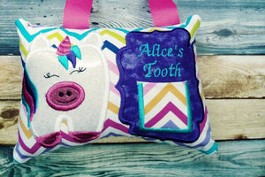 Tooth fairy pillow - unicorn - personalized - rainbow - fantasy - keepsake tooth fairy pillow - girl tooth fairy pillow - custom colors