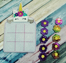 Unicorn Tic Tac Toe Game Board and Pieces - birthday party favor - Easter Basket - Classic Game - Quiet Toy Fantasy - Mythical - non food
