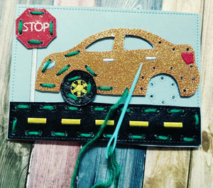 Sewing cards for kids - Car sewing card - learn to sew - busy toy - activity toy - car lacing card - learning toy - Montessori toy - quiet
