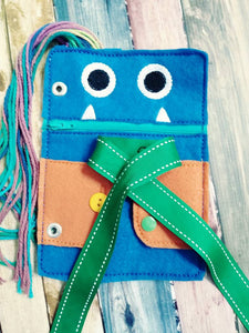 Toddler quiet book page - Monster book page - monster closure page - learn to tie - learn to zip - learn to button - learn to snap - braid
