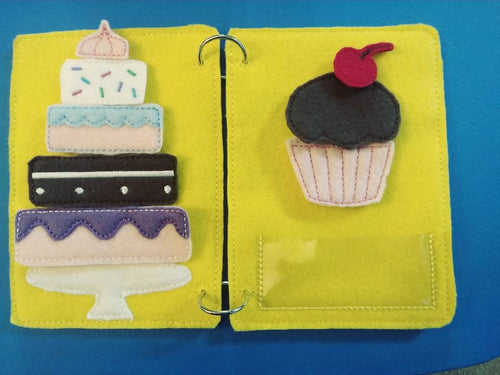 Road trip book for kids - Quiet book page - felt cake - felt toy - busy book page - activity book page - road trip activity page