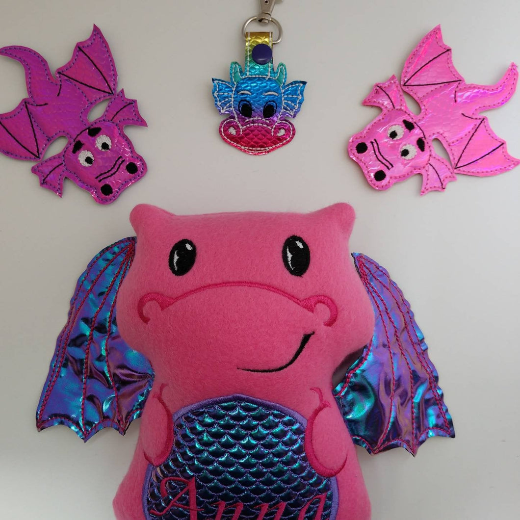 Dragon gift - dragon party favor - dragon finger puppets - dragon keychain - pretend play - fantasy - dragon stuffie - personalalized