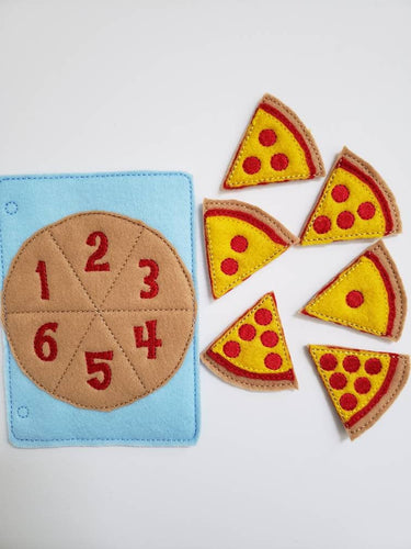 Learn to count - felt pizza counting quiet book page - number match - quiet book page - busy book