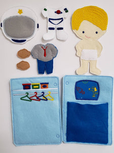 Astronaut boy felt paper doll - doll clothes storage - quiet activity page - busy book page