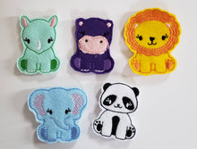 Zoo Animal Finger Puppets -  zoo storage bag - Free Personalization -  Quiet Toy - Busy Bag - Activity Bag - custom colors