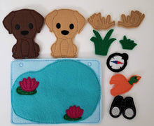 Felt dog finger puppet quiet book page - activity page - busy book - learning page