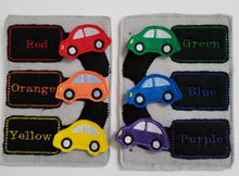 Color match Quiet book page - racecar play mat  - Color car Match - race track - color sorting - counting game - educational - learning toy