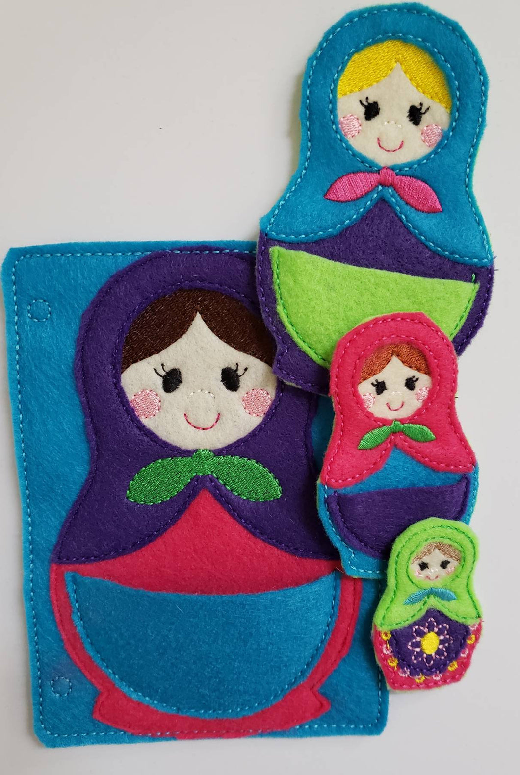 Felt nesting doll quiet book page - toddler quiet book page - stacking dolls - activity page - busy book page