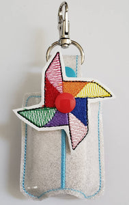 Hand sanitizer holder - glitter vinyl Pinwheel hand sanitizer holder - purse tag - sports bag tag - hand sanitizer fob - back pack tag