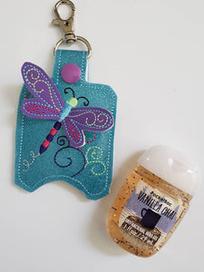 Hand sanitizer holder - glitter vinyl dragonfly hand sanitizer holder - purse tag - sports bag tag - hand sanitizer fob - back pack tag