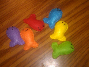 Colored Goldfish Crackers in a Felt Bag