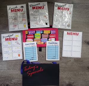 Waitress play set - Restaurant toys - Restaurant play set - pretend restaurant - pretend menus - pretend play - play kitchen- pocket apron