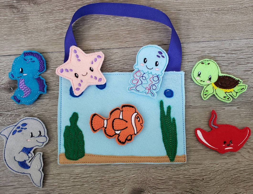 Felt finger puppet animal - Ocean Animal quiet book page -  Gift for kids - Party Favor - baby shower gift - Under the Sea - sea creatures