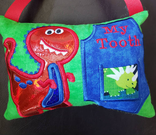 Dinosaur Tooth Fairy Pillow for Boys, Personalized Tooth Fairy Pillow, Tooth Fairy Gift, Hanging Tooth Fairy Pillow, Custom Tooth Pillow