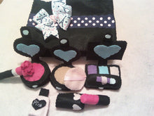 Purple, Pink, Lime Green and Blue Owl Felt Make-up Set with Eye Shadow
