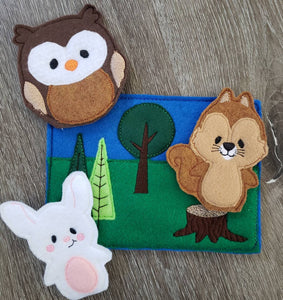 Felt finger puppet animal - Woodland Animal quiet book page -  Gift for kids - habitat - forest animals - learning toy - animals and biomes
